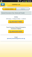 Screenshot of Aviva Singapore Travel