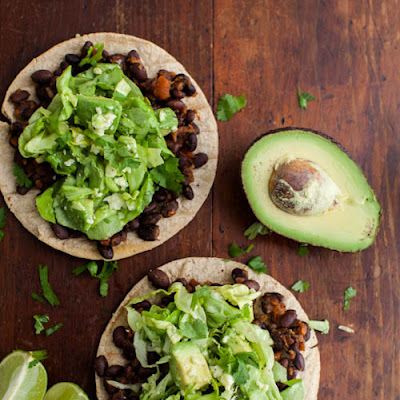 Black Bean Tostadas with Avocado Salad