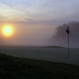 Foggy Golf Sunrise by Steve Parsons - Sports & Fitness Golf ( foggy, fog, green, golf, sunrise, flag stick )