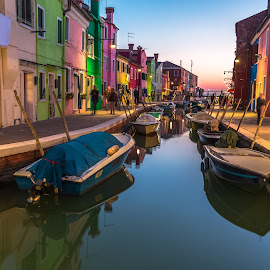 Burano by Stephen Bridger - City,  Street & Park  Neighborhoods ( venezia, colourful, italia, boats, venice, burano, travel, italy, travel photography, colours )