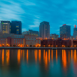 Downtown St. Paul at Night by Chris Hurst - City,  Street & Park  Night ( water, minnesota, reflection, long exposure, night, st. paul, river,  )