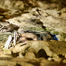 Shane in a cave by Jeffrey Genova - Sports & Fitness Other Sports ( hunter gatherer, survival run, racing, ultra, cave, ultra marathon, running )
