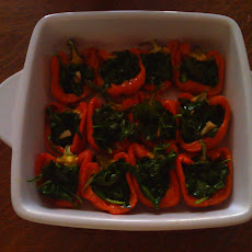 Green-Stuffed Yellow Peppers
