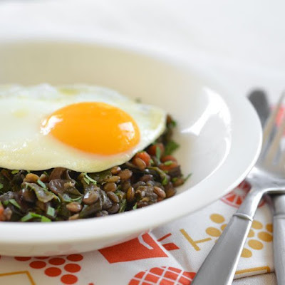 Braised Lentils and Chard Topped with an Egg