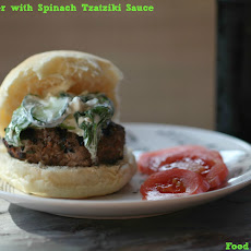 Greek Lamb Burgers with Spinach Tzatziki