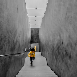 Run! by Jesus Giraldo - Buildings & Architecture Other Interior ( concept, stairs, action, run, kid )