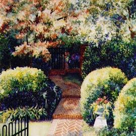 Into the Garden by Jennifer Wheatley-Wolf - Painting All Painting ( watercolor, jennifer wheatley-wolf, bricks, garden, sidewalk )