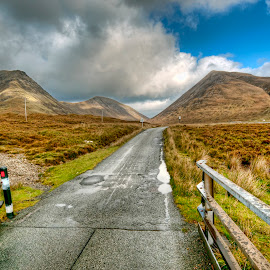 Single Track Road - Skye by John Passmore - Landscapes Mountains & Hills ( rosshire, scotland, mountains, single track road, skye, scottish highlands, isle of skye )