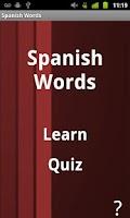 Screenshot of Spanish Words