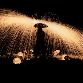 Raining Fire by Janet Bongiovanni - People Fine Art ( lighting, ice, fire, , Steel Wool, Fire, Sparks )