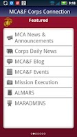 Screenshot of MCA&F Corps Connection