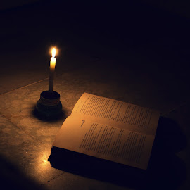 CandleLightReading by Kaushik Mondal - Novices Only Objects & Still Life ( reading, loadshading, book, candle light, darkness, power cut,  )