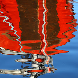 Red Ripple by Pam Mullins - Abstract Patterns ( abstract, reflection, red, ocean, boat )