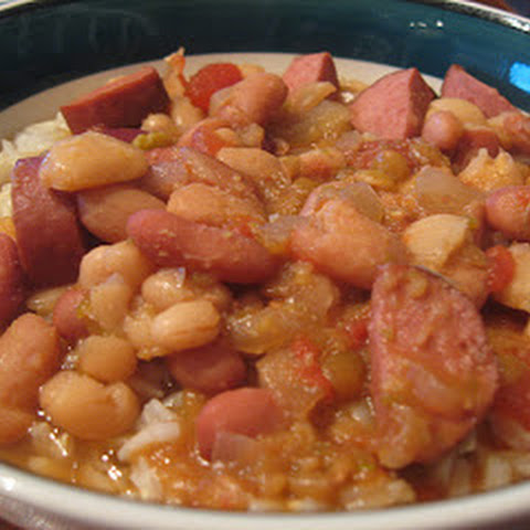 Calico Bean Soup with Smoked Sausage in the Crockpot