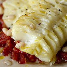 Roasted Cod with White Beans, Tomato, and Truffle Oil Recipe