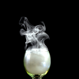 Glass of smoke by Marko Tamela - Artistic Objects Glass ( abstract, wine glass, background, glass, gray, black, smoke )