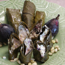 Grape Leaves Stuffed With Goat Cheese & Figs