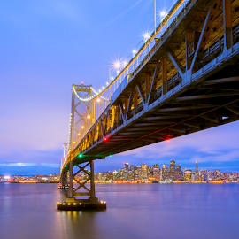 Bay Bridge - San francisco by Jerome Obille - Buildings & Architecture Bridges & Suspended Structures ( san francisco skyline, lights, blue hour, city lights, architecture, bay bridge, cityscape, bridge )