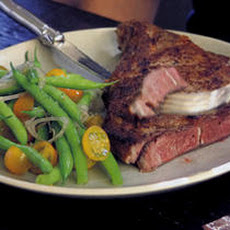 Rib Steaks with Spice Rub and Green Bean Salad Recipe