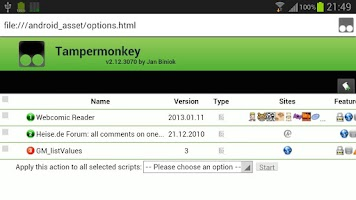 Screenshot of Tampermonkey