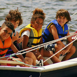 Sailing the High Seas by Alvin Simpson - Babies & Children Children Candids ( canon, water, sailing, children, lake, fun, rebel, boat, dock, lifejacket )