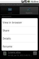 Screenshot of Cloud Explorer for OneDrive