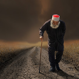 Walking the way by Rami Alsaadi - People Portraits of Men ( desert, landscapes, people, design, man, portrait, destination,  )