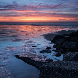 Sunset  by Bart Dumont - Landscapes Waterscapes ( colors, knokke, sunset, wet rocks, horizon, sea, beach,  )
