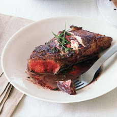 New York Steaks with Boursin and Merlot Sauce
