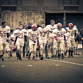 The other sandlot by Brandon Stivers - Sports & Fitness American and Canadian football ( sepia, football, selective color, game, team, pwc )