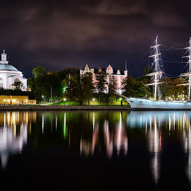 Smooth Sailing by Michael Wiejowski - City,  Street & Park  Night ( sweden, europe, stockholm, sailing, hostel, yacht, night, travel, sailboat,  )