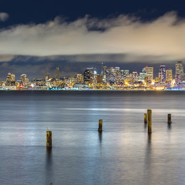 Clearly Cloudy Night by Jeffery Hayes - City,  Street & Park  Skylines ( water, clouds, seattle, long exposure, night, cityscape, city )