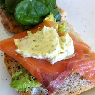 Smoked Salmon, Avocado, Dill and Parsley Mayo Sandwich