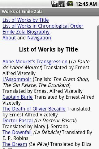Works of Emile Zola