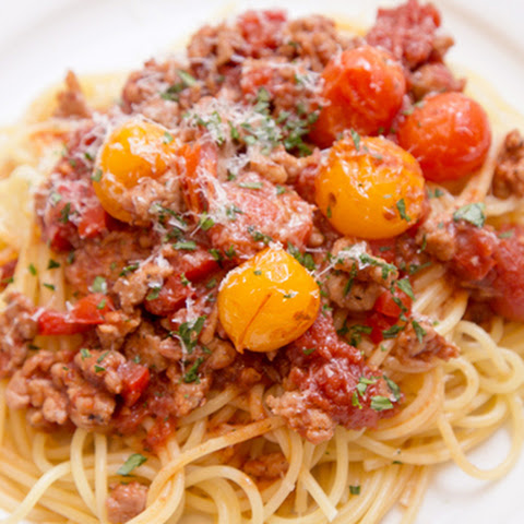 Spaghetti with Sausage and Grape Tomato Ragu (Adapted from Taste Food)