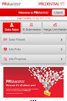 Screenshot of PRUaccess Mobile