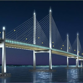 The blue hour of Penang Second Bridge by Teoh Ying - Buildings & Architecture Bridges & Suspended Structures ( penang, nightview, bridge, architecture, photoshooting, photography )