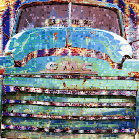 GMC Truck by Joerg Schlagheck - Digital Art Abstract ( old, blue, truck, deteriorated., rusty )
