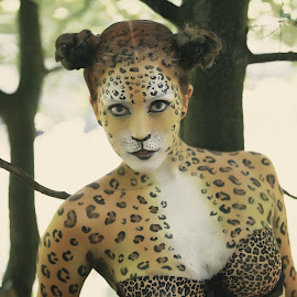 by Monika Schaible - People Body Art/Tattoos ( body painting, body art, monika schaible, forest, animal print )
