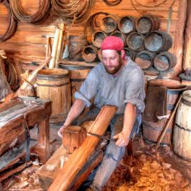 The Cooper by Ernie Kasper - Digital Art People ( shaping, barrels, wood, bench, canada, clamps, fort langley, shavings, cooper, metal, artistic, making, barrel, british columbia )