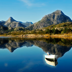 by Bente Agerup - Landscapes Mountains & Hills ( hills, mountains, nature, lake, boat )