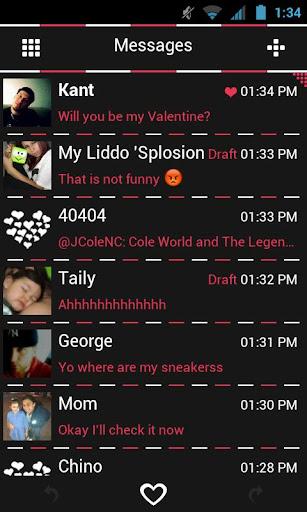 Go SMS Theme Pink Minimal