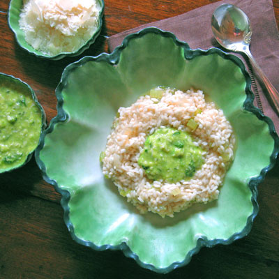 White Risotto with Fava Bean Puree
