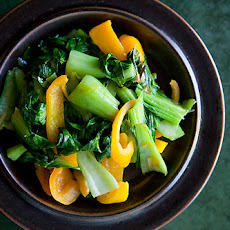 Baby Bok Choy with Yellow Bell Peppers