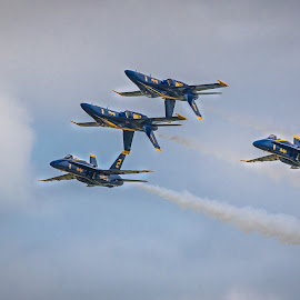 Blue Angels Formation  by Darin Mellor - Transportation Airplanes ( offut air force bace, f22, bellevue, nebraska, blue angels, air show )