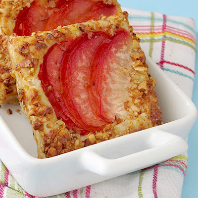 Pluot Breakfast Squares with Crushed Honey Butter Almonds