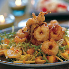 Fried Squid, Papaya, and Frisée Salad with Spicy-Sour Dressing
