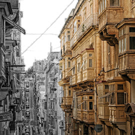 MALTA LA VALETTA by Veronica D'Andrea - City,  Street & Park  Historic Districts ( home, old, ancient, storic, malta, valletta, street, buildings, house )