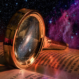 Into the universe by John Georgiou - Digital Art Places ( books, milkyway, magnifier, reading, reflection, mystery, pages, space, magnifying glass, mirror, symbols, words, stars, book, cloud, gold, light, galaxy,  )