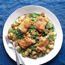 Spicy Potatoes and Peas with Chicken